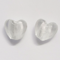 20 Clear Silver Foiled Glass 12mm Heart Beads